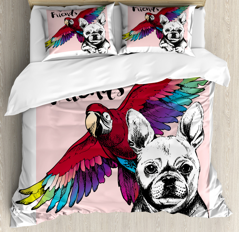 Modern Duvet Cover Set with Pillow Shams Bulldog Parred Friends Print