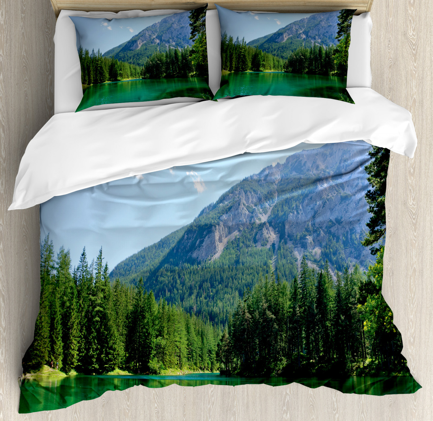 Nature Duvet Cover Set with Pillow Shams Forest Lake in Valley Print