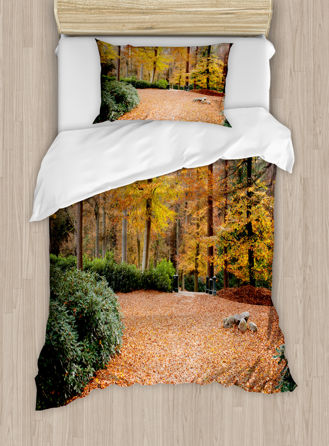 Nature Duvet Cover Set with Pillow Shams Autumn Forest Trees Fall Print | eBay