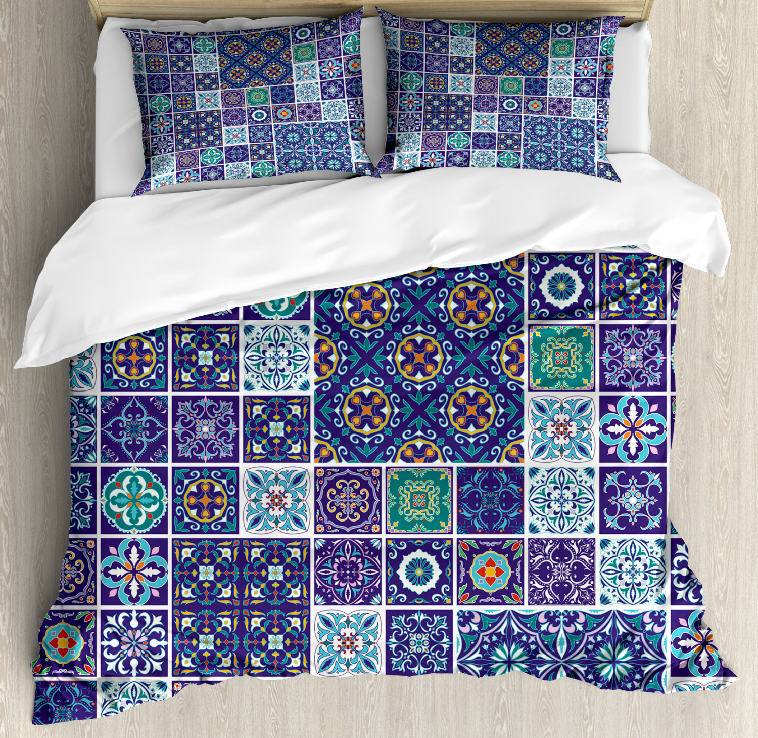 Ethnic Duvet Cover Set with Pillow Shams Traditional Mosaic Tile Print