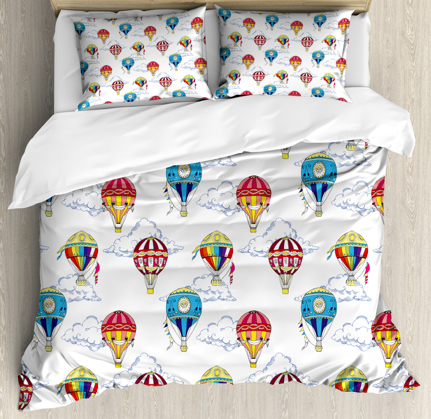 Vintage Duvet Cover Set with Pillow Shams Clouds Hot Air Balloons Print