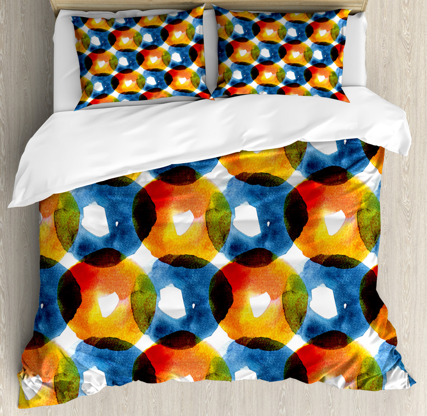 Modern Duvet Cover Set with Pillow Shams WaterColoreee Ring Shapes Print