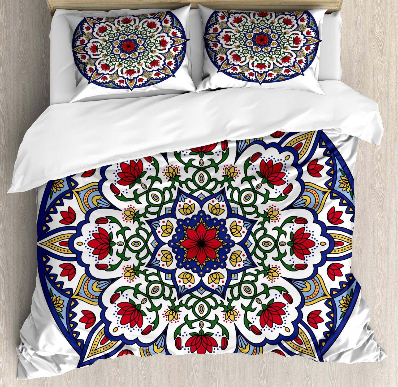 Mgoldccan Duvet Cover Set with Pillow Shams Mandala Lotus Ancient Print