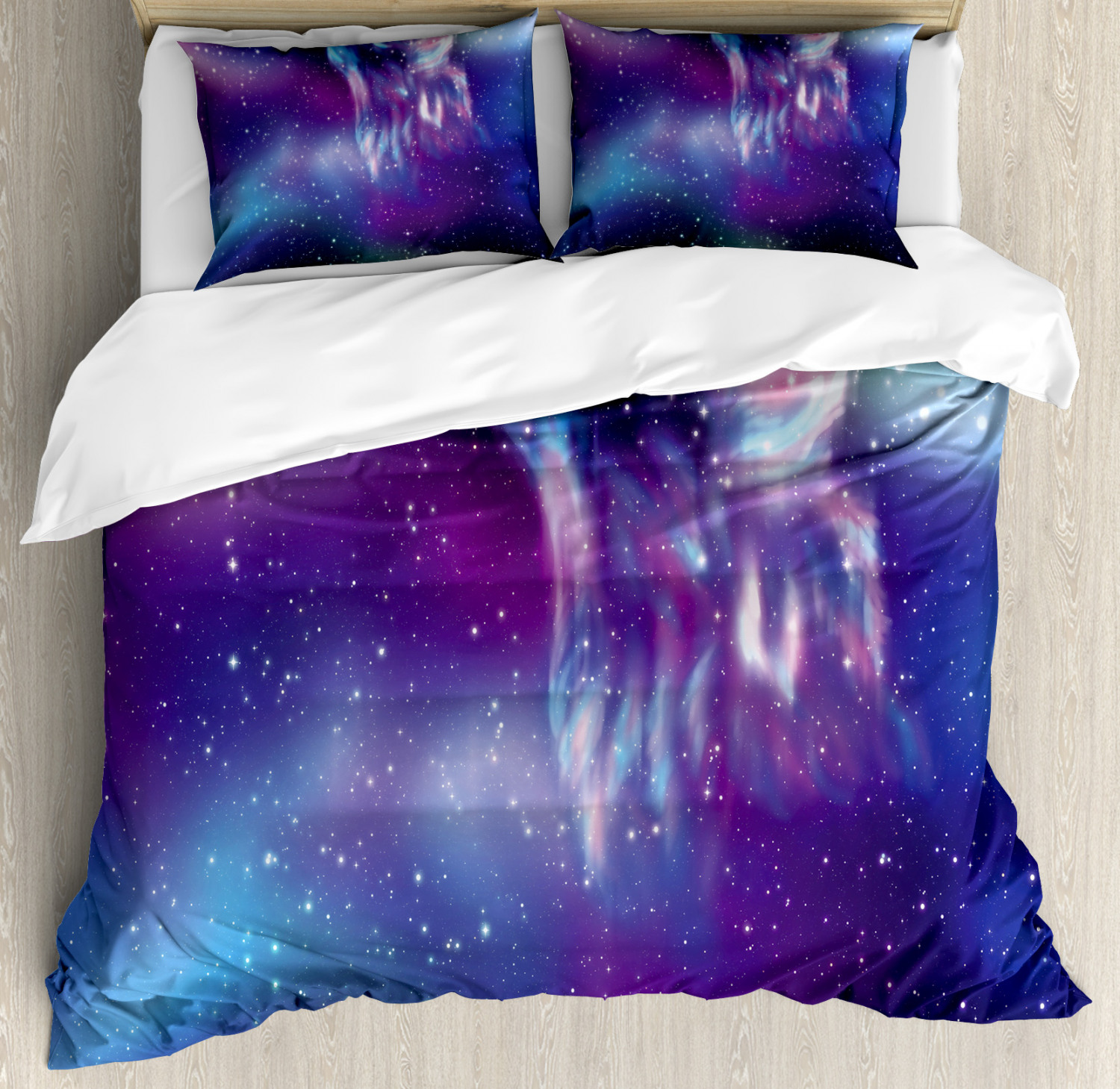 Nature Duvet Cover Set with Pillow Shams Northern Aurora Borealis Print
