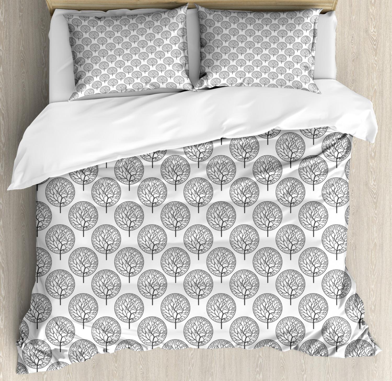 Garden Duvet Cover Set with Pillow Shams Leaves Circles Artful Print