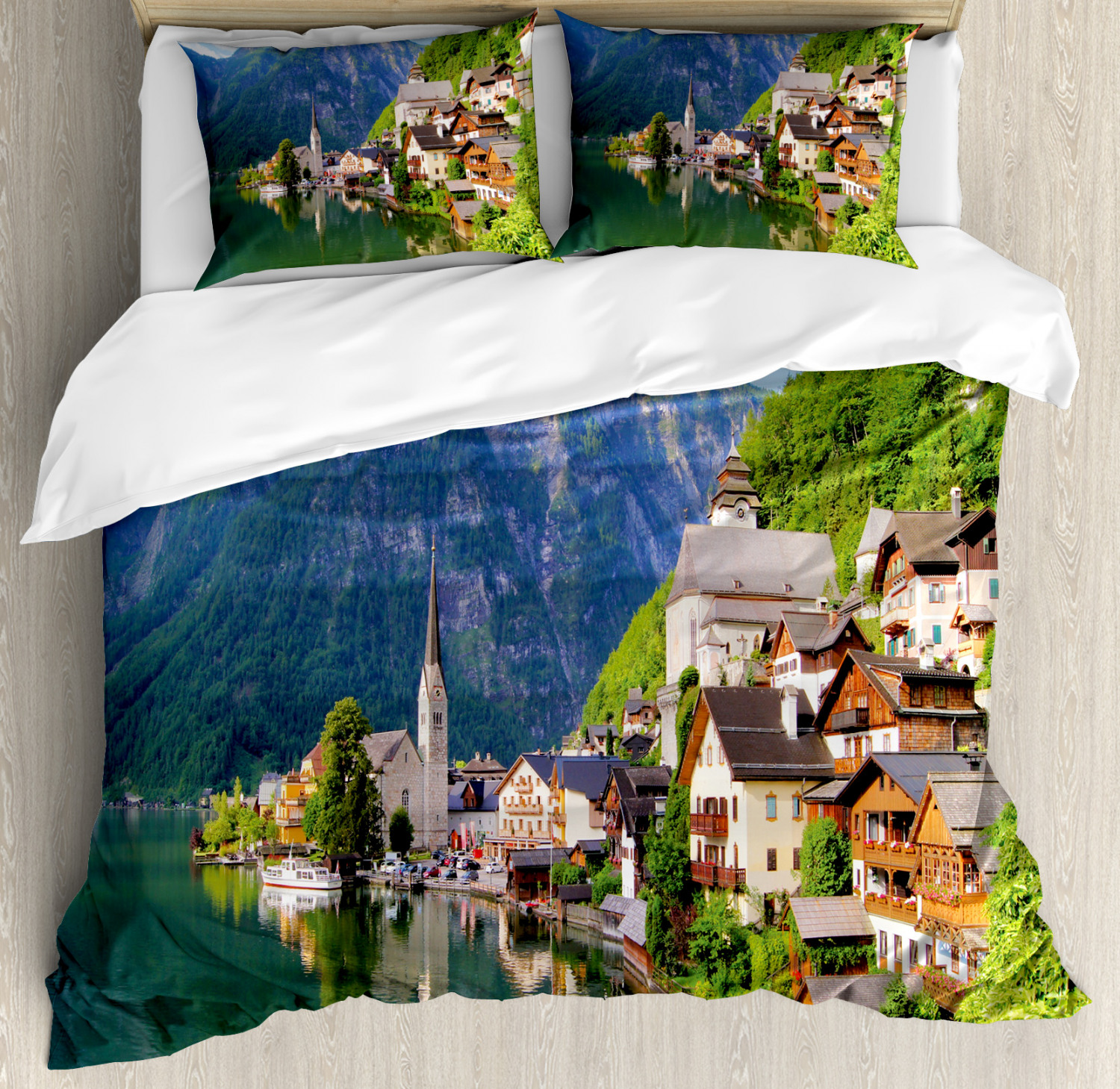 Rustic Duvet Cover Set with Pillow Shams Alps Village Small Town Print