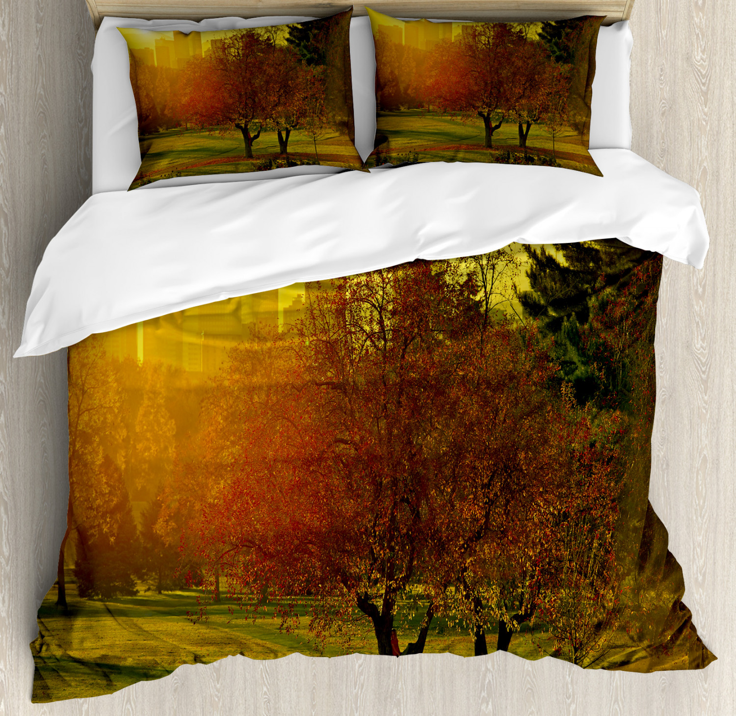 Nature Duvet Cover Set with Pillow Shams Sunset over City Park Print