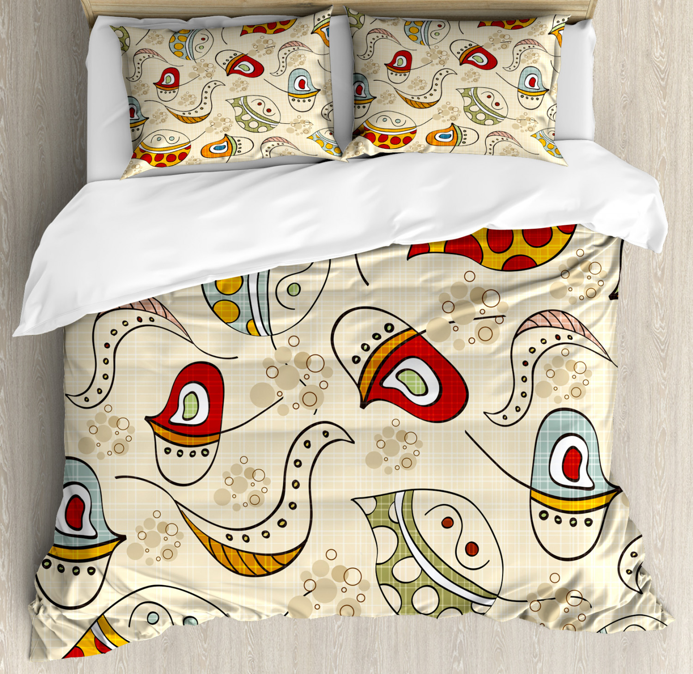 Coloreeful Duvet Cover Set with Pillow Shams Trippy Leaf Figures Print
