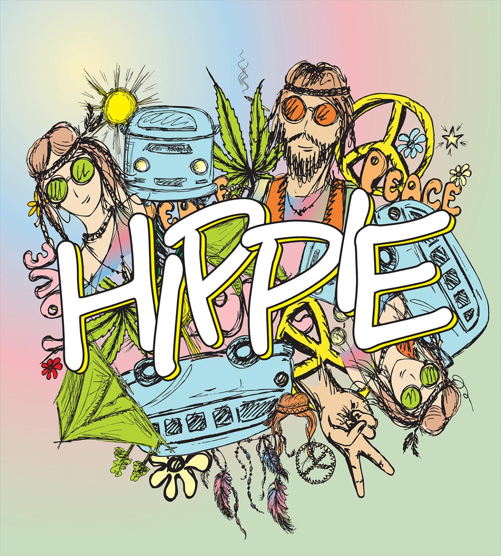 Hippie Duvet Cover Set with Pillow Shams Man Woman Peace ...