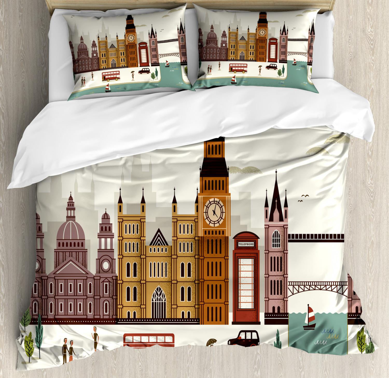 London Duvet Cover Set with Pillow Shams Travel Scenery Big Ben Print