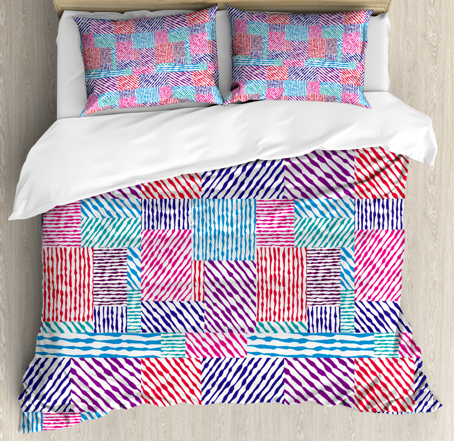 colorful Duvet Cover Set with Pillow Shams Wavy Lines greenical Print