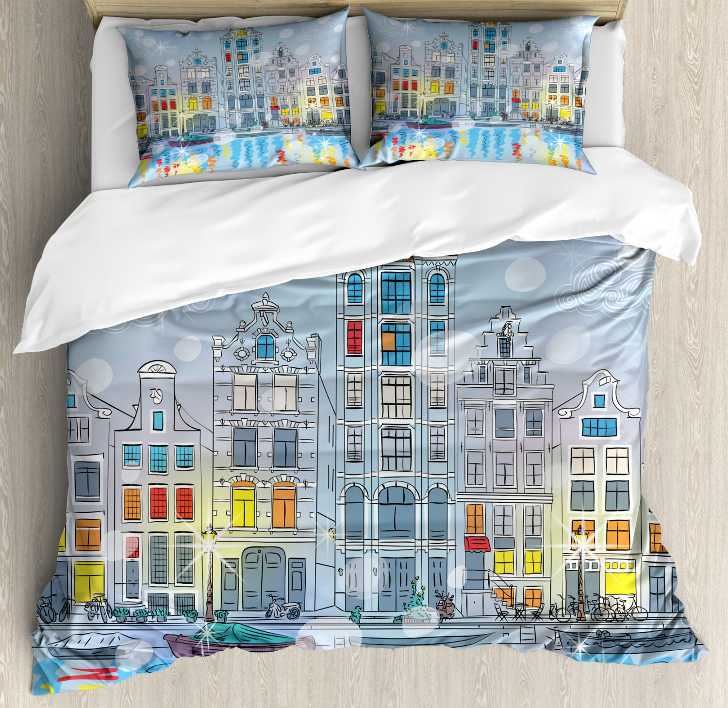 Christmas Duvet Cover Set with Pillow Shams Amsterdam Canal Xmas Print