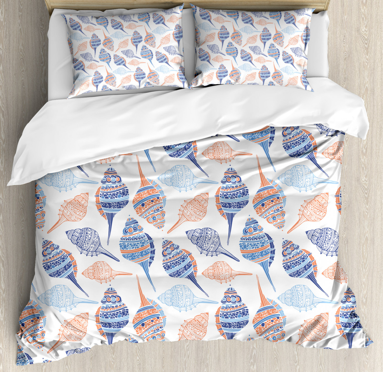 Ocean Duvet Cover Set with Pillow Shams Abstract Marine Seashells Print