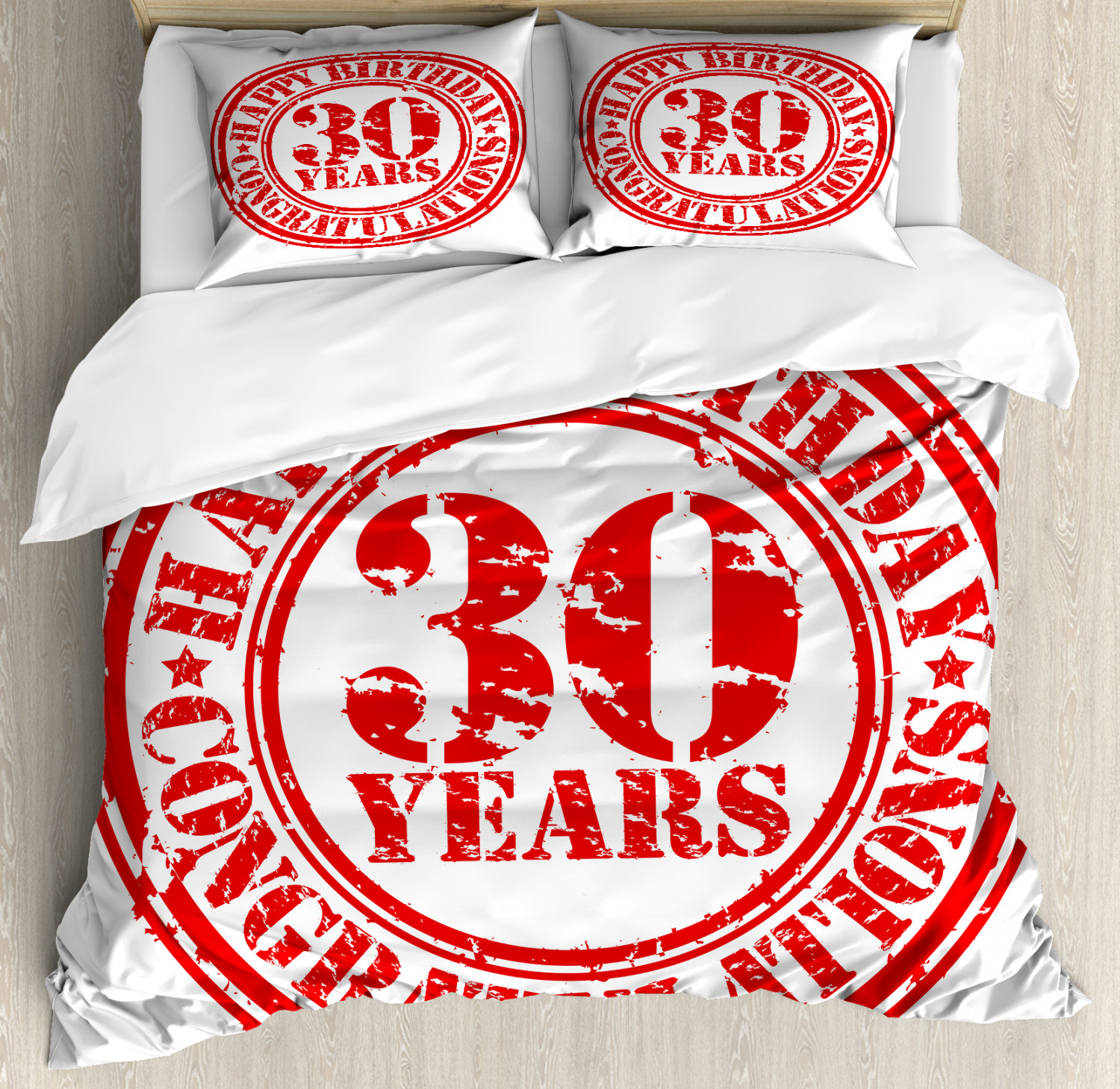 Retro Duvet Cover Set with Pillow Shams Grunge Birthday Stamp Print