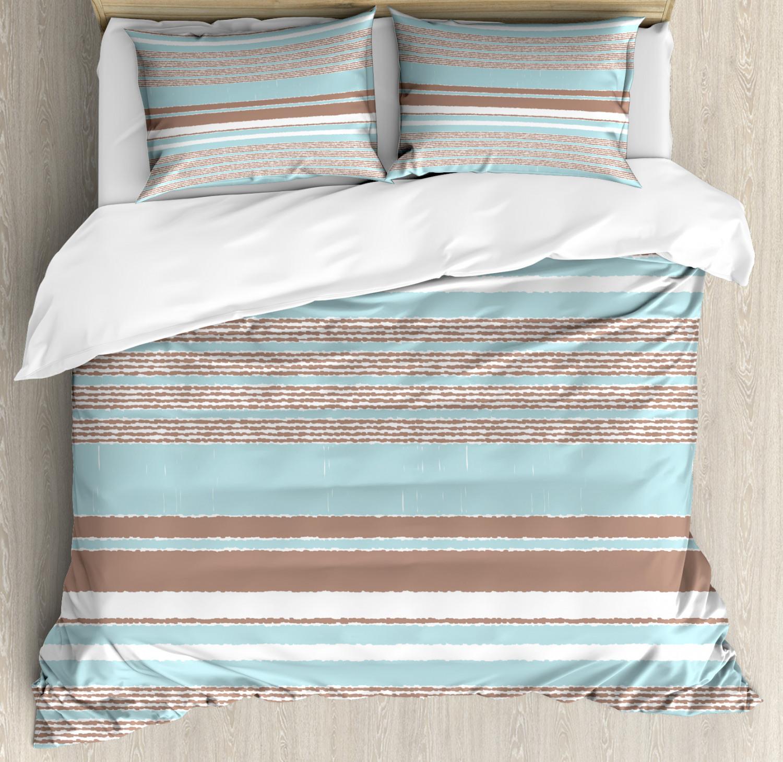 Aqua Duvet Cover Set with Pillow Shams Horizontal Stripes Lines Print
