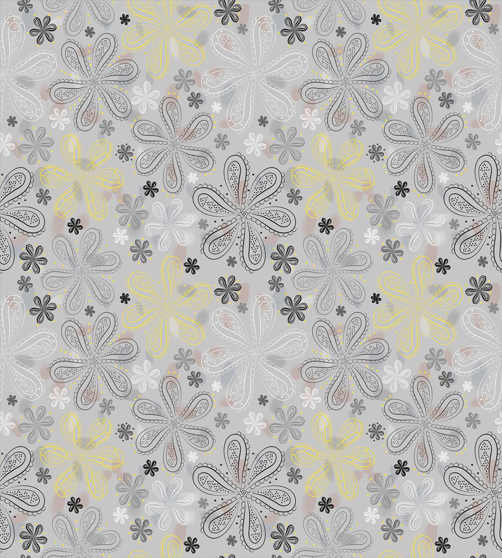 Grey-Duvet-Cover-Set-with-Pillow-Shams-Style-Yellow-Flower-Print thumbnail 3