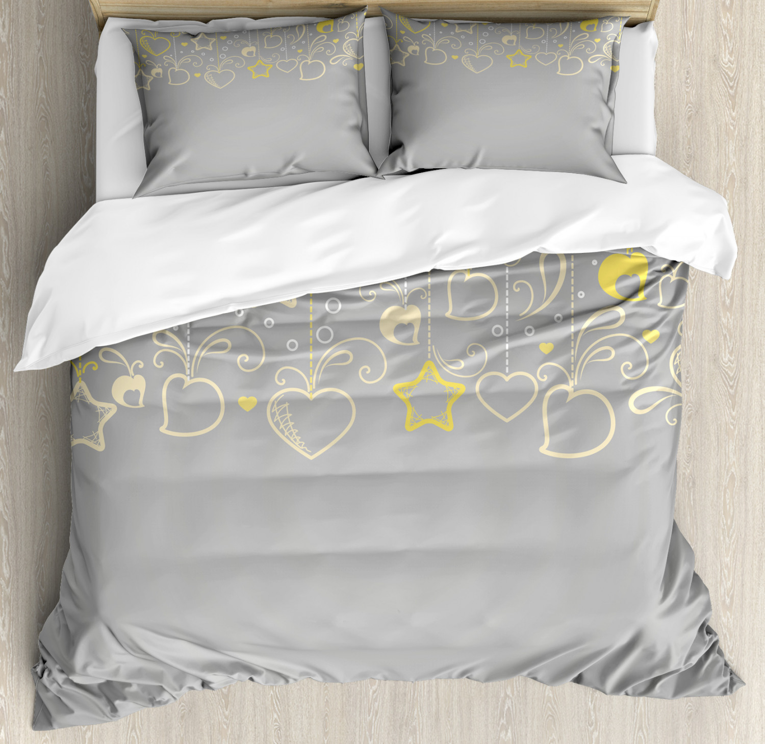 Ethnic Duvet Cover Set with Pillow Shams Grey Swirl Hearts Print