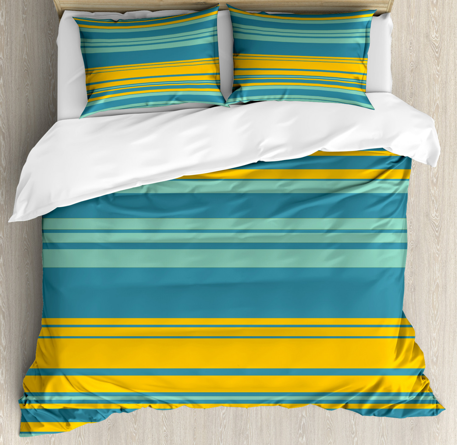 Yellow and bluee Queen Size Duvet Cover Set Abstract Modern with 2 Pillow Shams