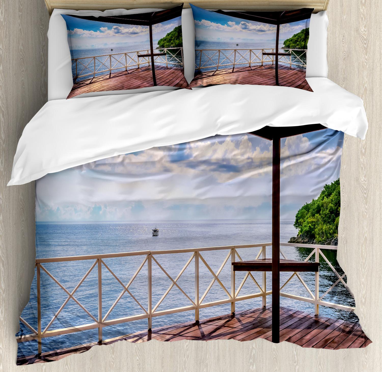 Tropic Duvet Cover Set with Pillow Shams Trinidad Tobago Island Print