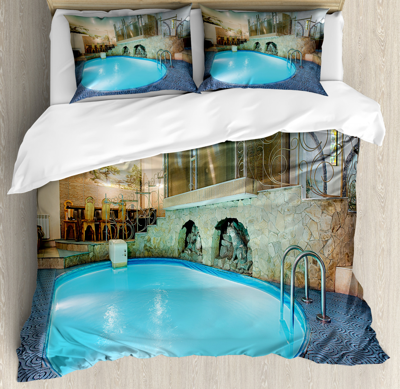 Pool Duvet Cover Set with Pillow Shams Spa Resort Relaxing Print
