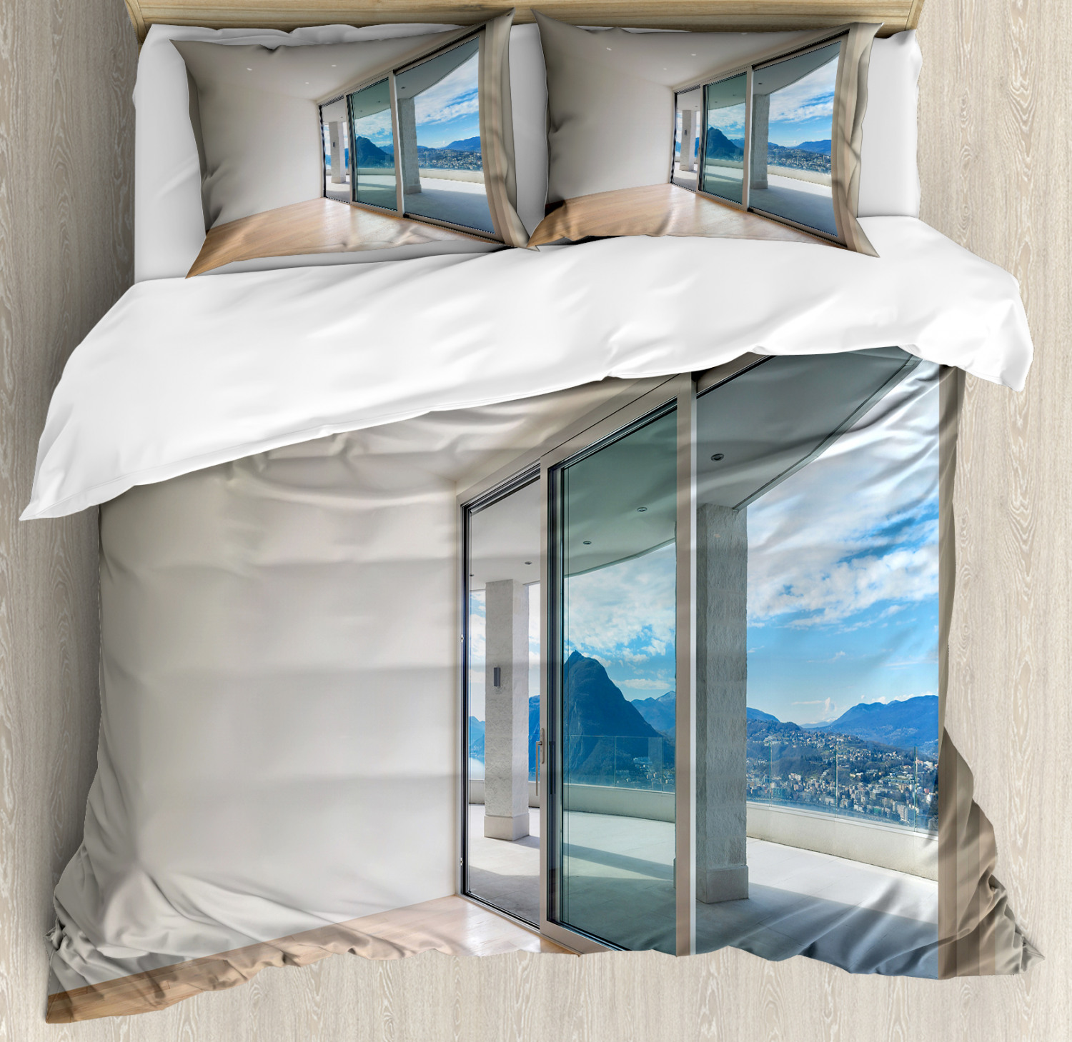Room Duvet Cover Set with Pillow Shams Penthouse Terrace Print