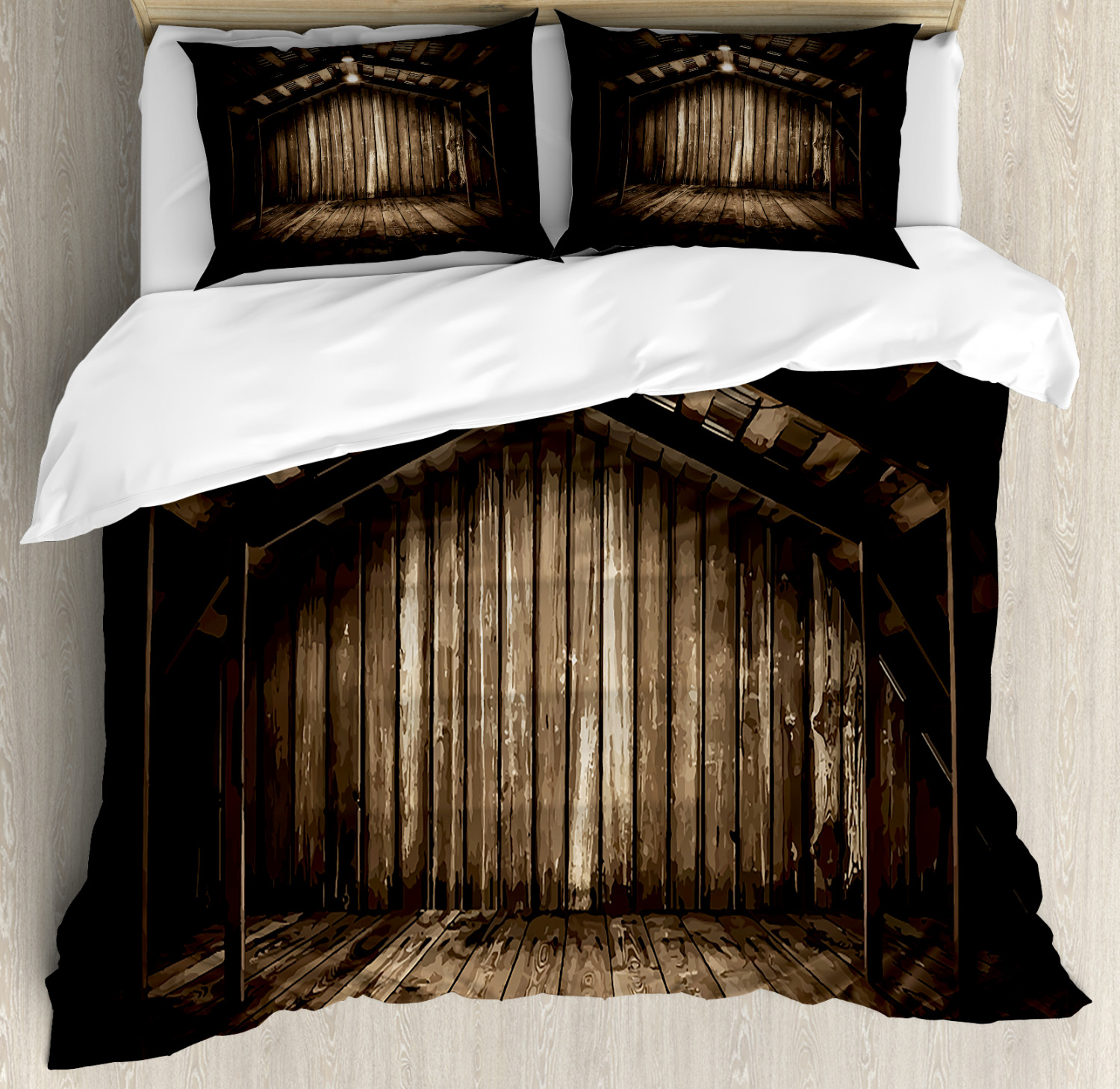 Rustic Duvet Cover Set with Pillow Shams Wooden Cottage Print