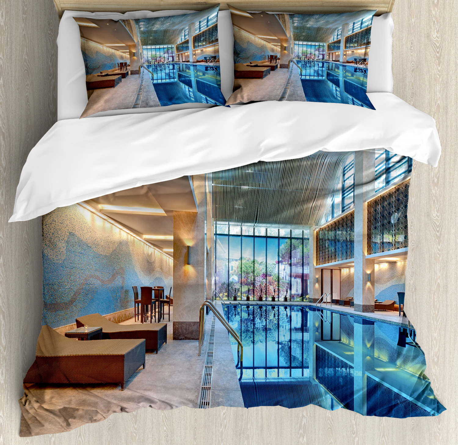 Spa Duvet Cover Set with Pillow Shams Calming Relaxing Pool Seats Print
