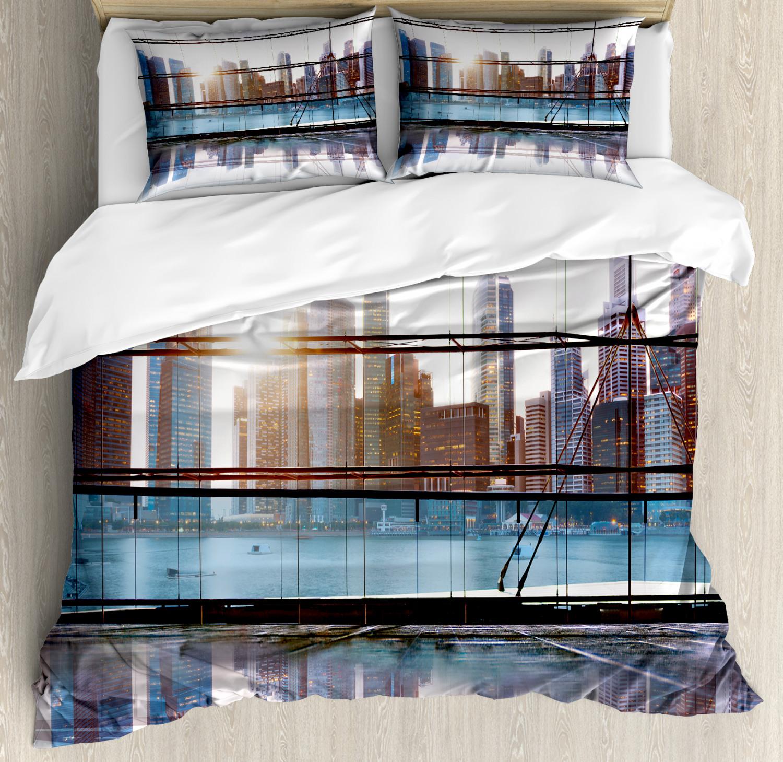 City Duvet Cover Set with Pillow Shams Futuristic Metropolitan Print