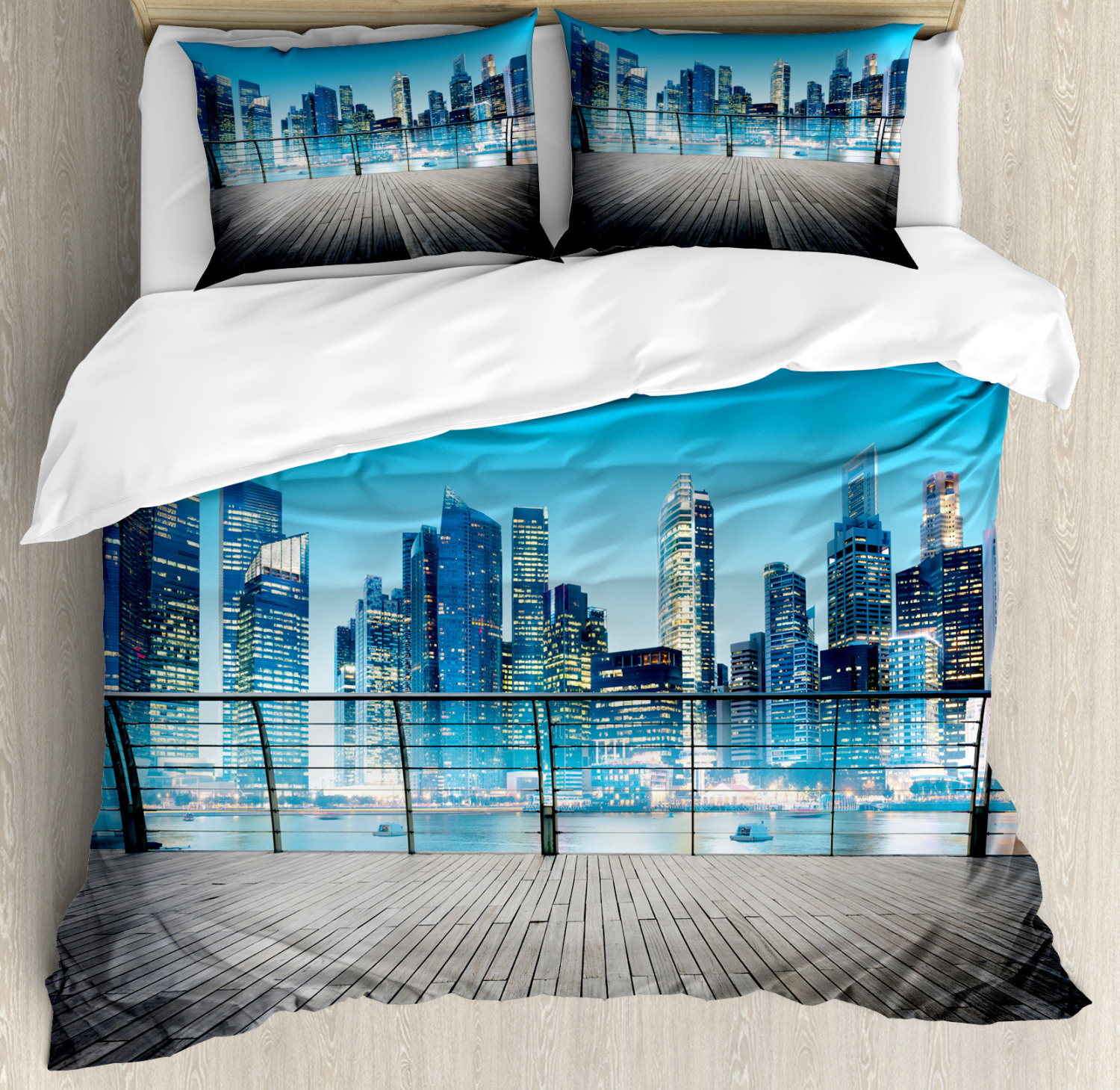 Scenery Duvet Cover Set with Pillow Shams bluerry Skyscrapers Sea Print