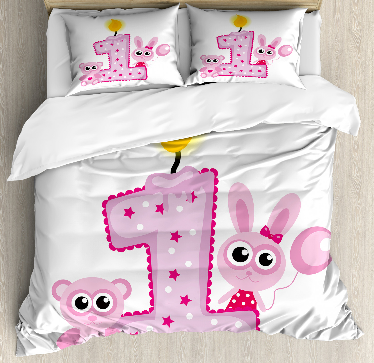 Party Duvet Cover Set with Pillow Shams Girls Birthday Bunnies Print