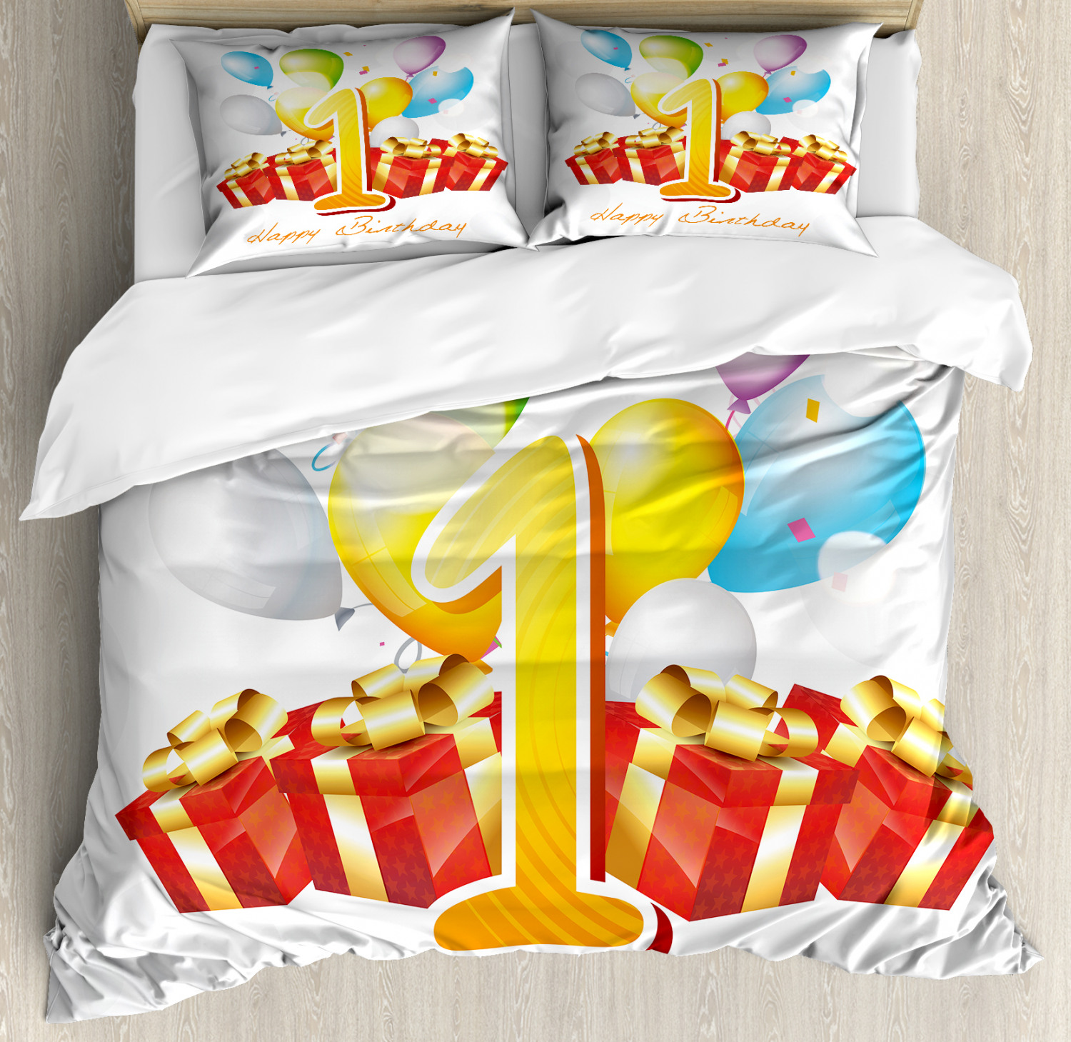 Red Yellow Duvet Cover Set with Pillow Shams First Birthday Party Print