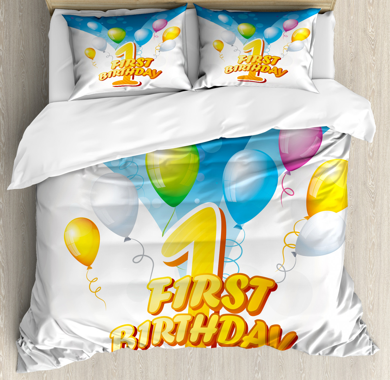 Abstract Duvet Cover Set with Pillow Shams Party Theme Balloons Print