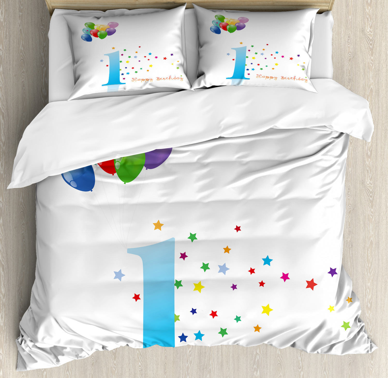 Coloreeful Duvet Cover Set with Pillow Shams Kids First Birthday Print