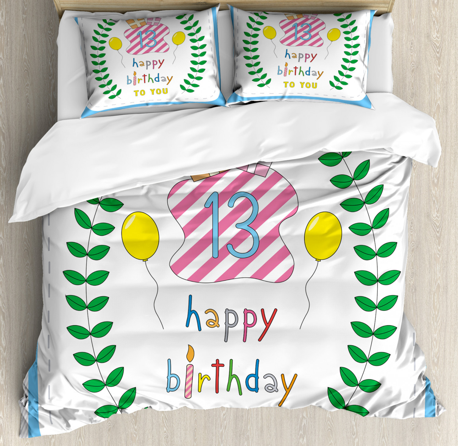 colorful Duvet Cover Set with Pillow Shams 13th Birthday Gifts Print