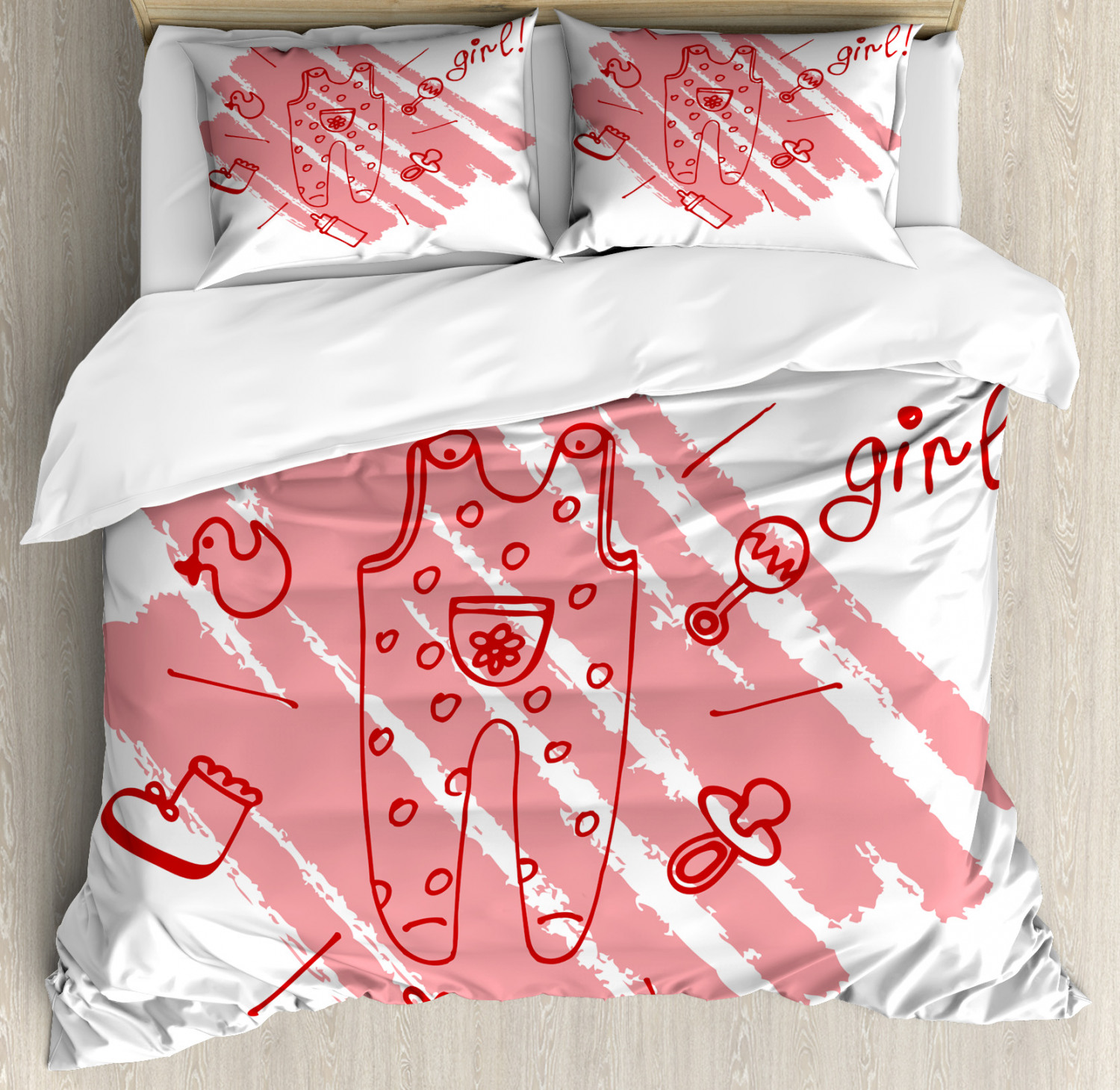 Red Duvet Cover Set with Pillow Shams Baby Girl Pacifier Print