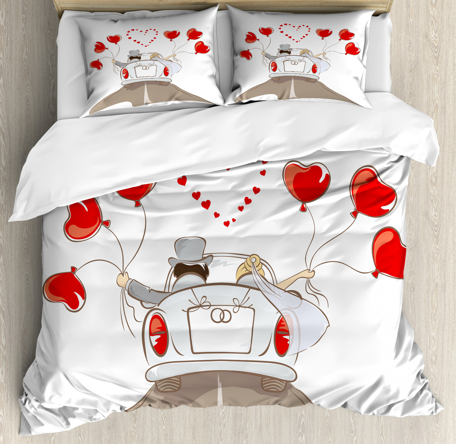 Romance Duvet Cover Set with Pillow Shams Newlywed Couple in Car Print
