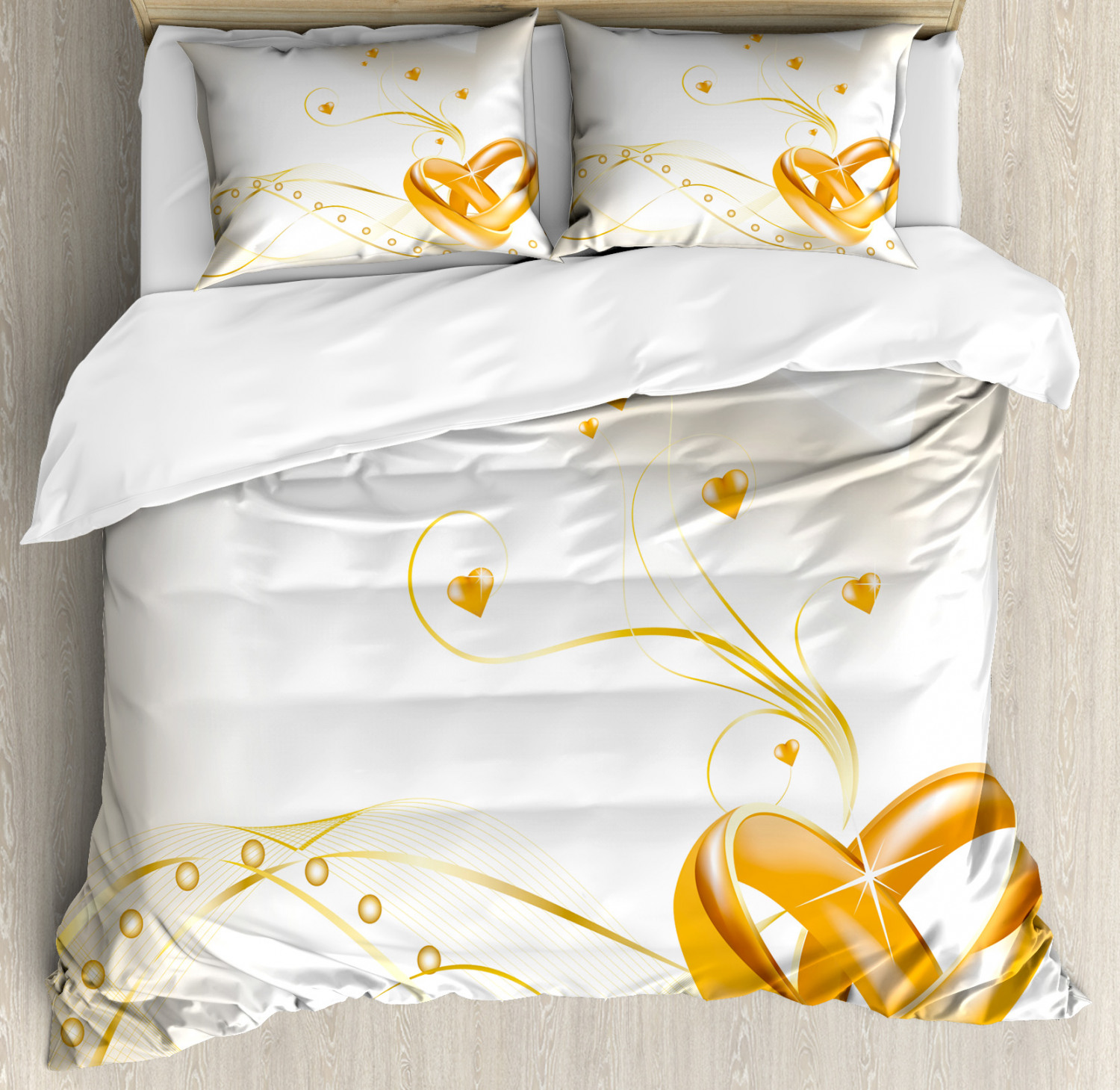 Wedding Duvet Cover Set with Pillow Shams Rings Heart 3D Style Print