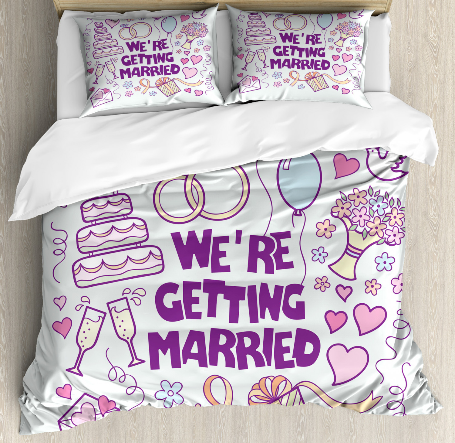 Wedding Duvet Cover Set with Pillow Shams Happy Collection Doves Print