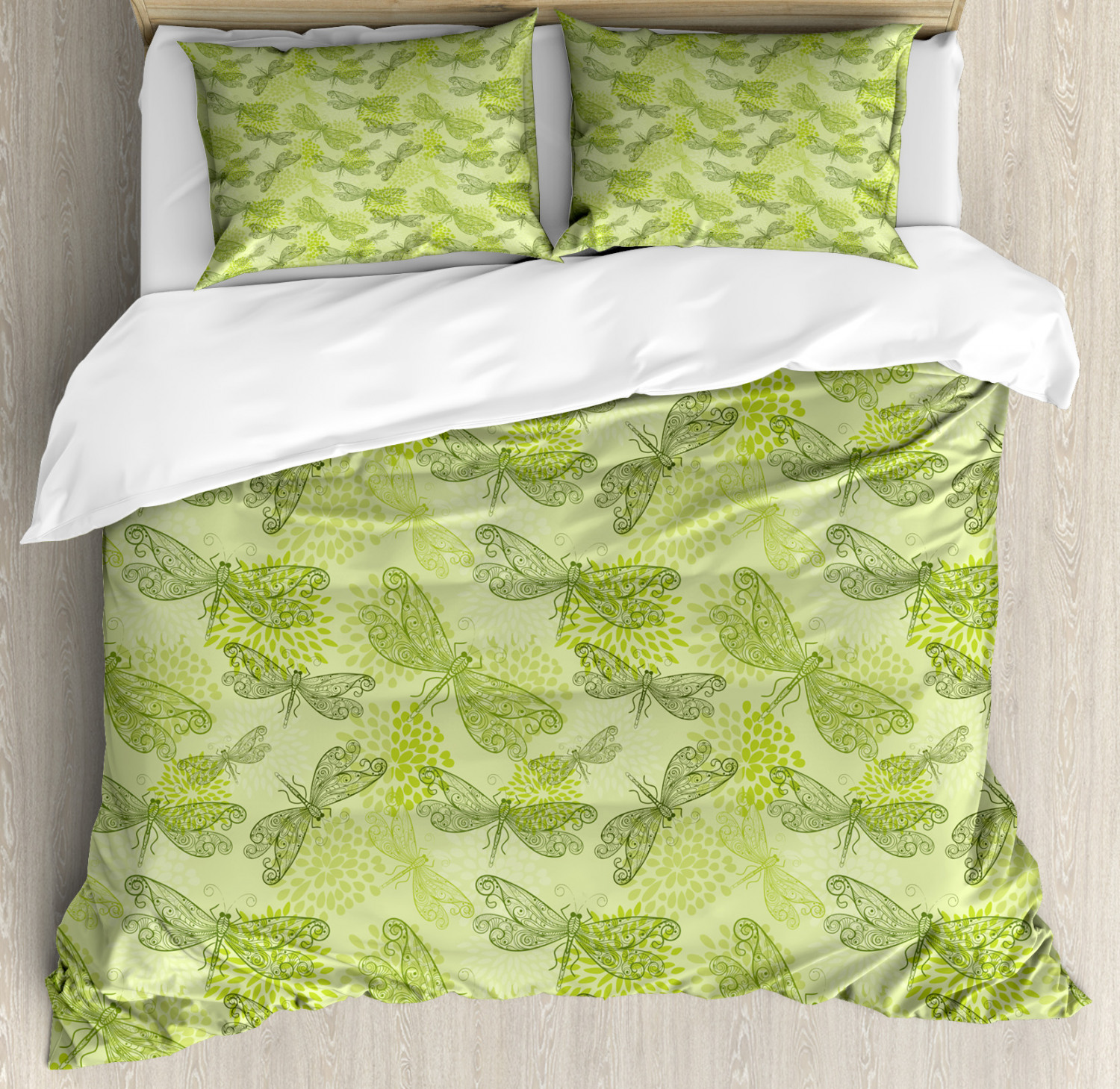 Sketchy Duvet Cover Set with Pillow Shams Floral Dragonfly Wings Print