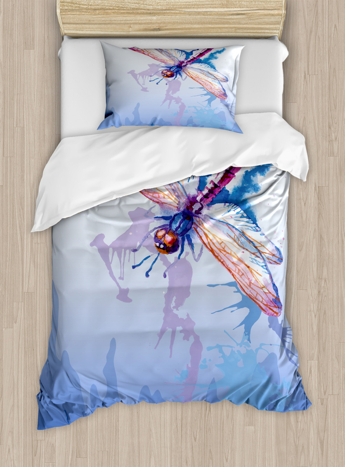 Colorful Duvet Cover Set with Pillow Shams Abstract Dragonfly Print