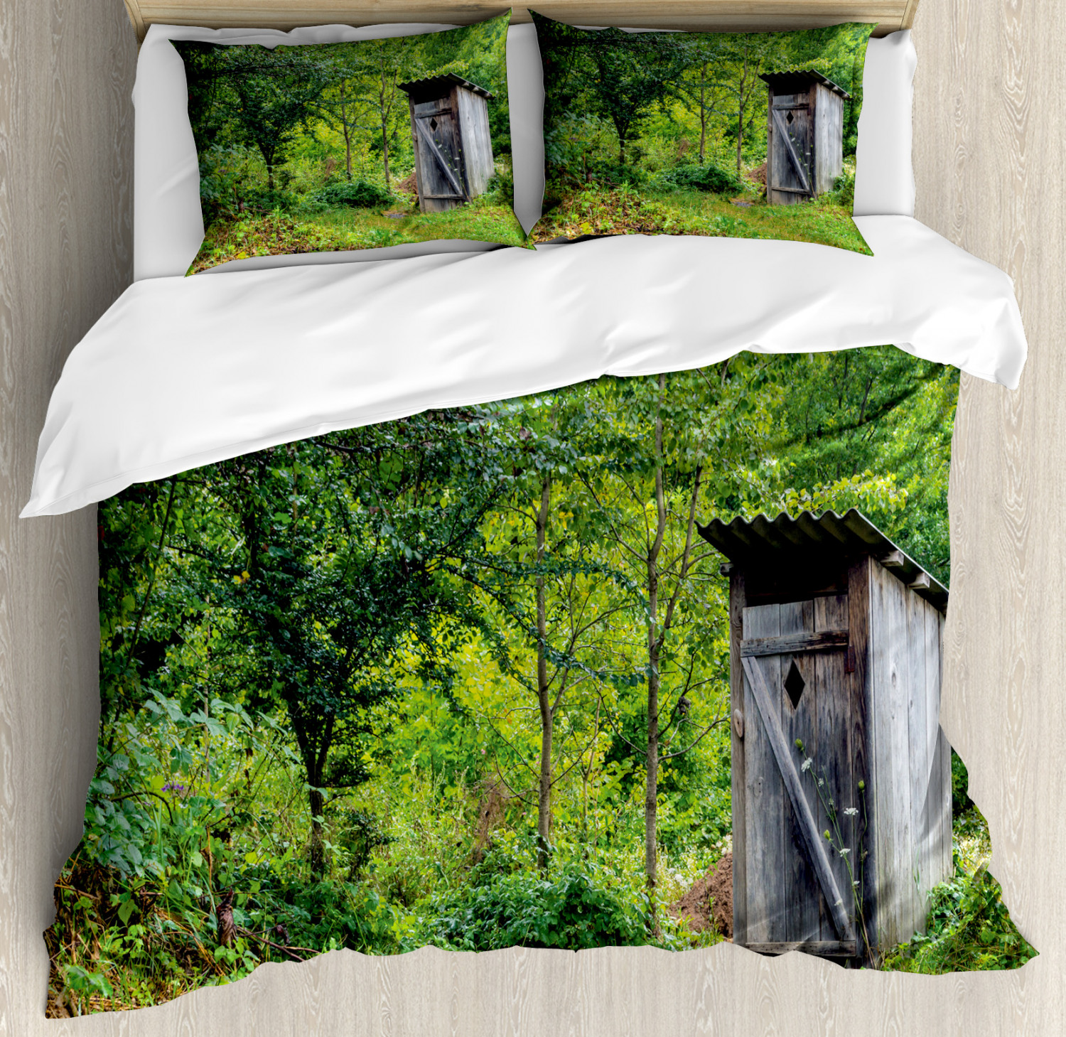 Outhouse Duvet Cover Set with Pillow Shams Ancient Cottage Forest Print