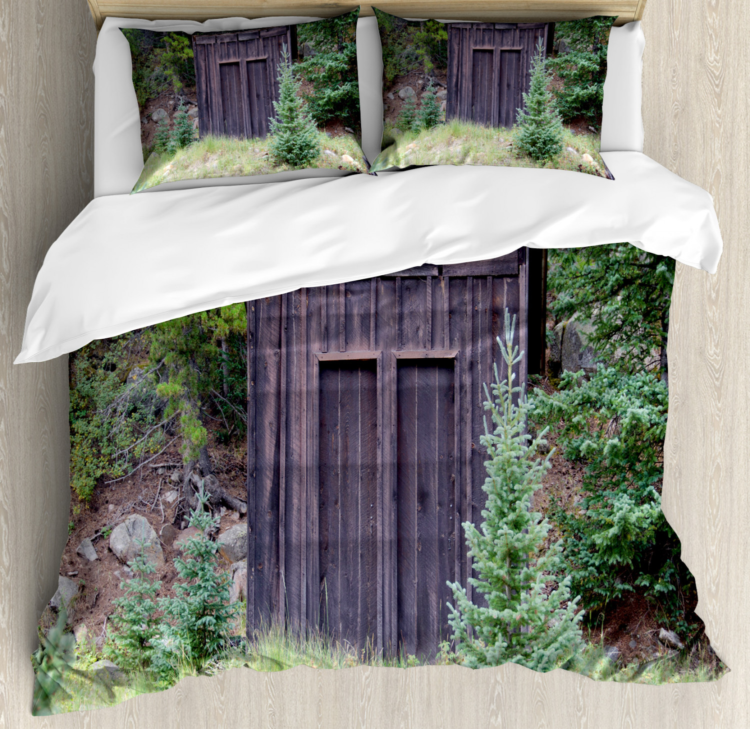 Outhouse Duvet Cover Set with Pillow Shams Cottage in Farm Forest Print
