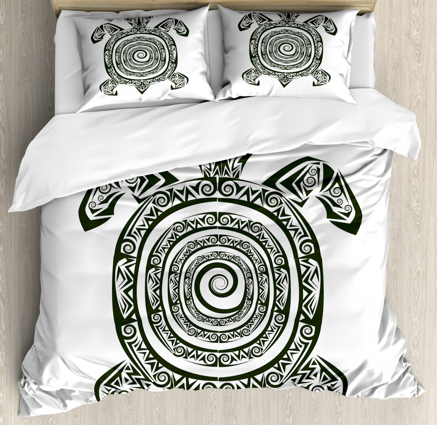 Tribal Duvet Cover Set with Pillow Shams Ancient Turtle Maori Print