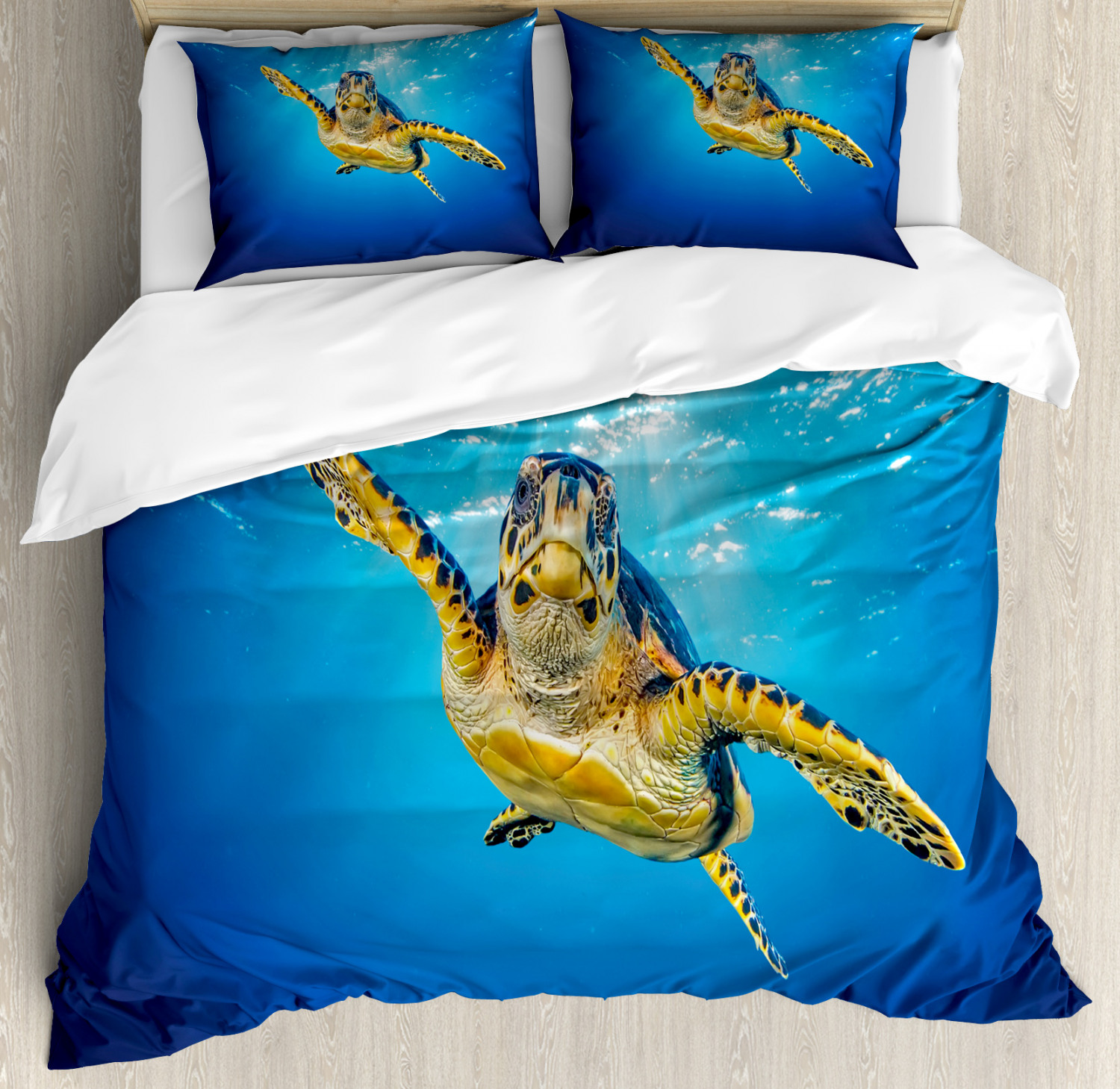 Turtle Duvet Cover Set with Pillow Shams bluee Waters Swimming Print