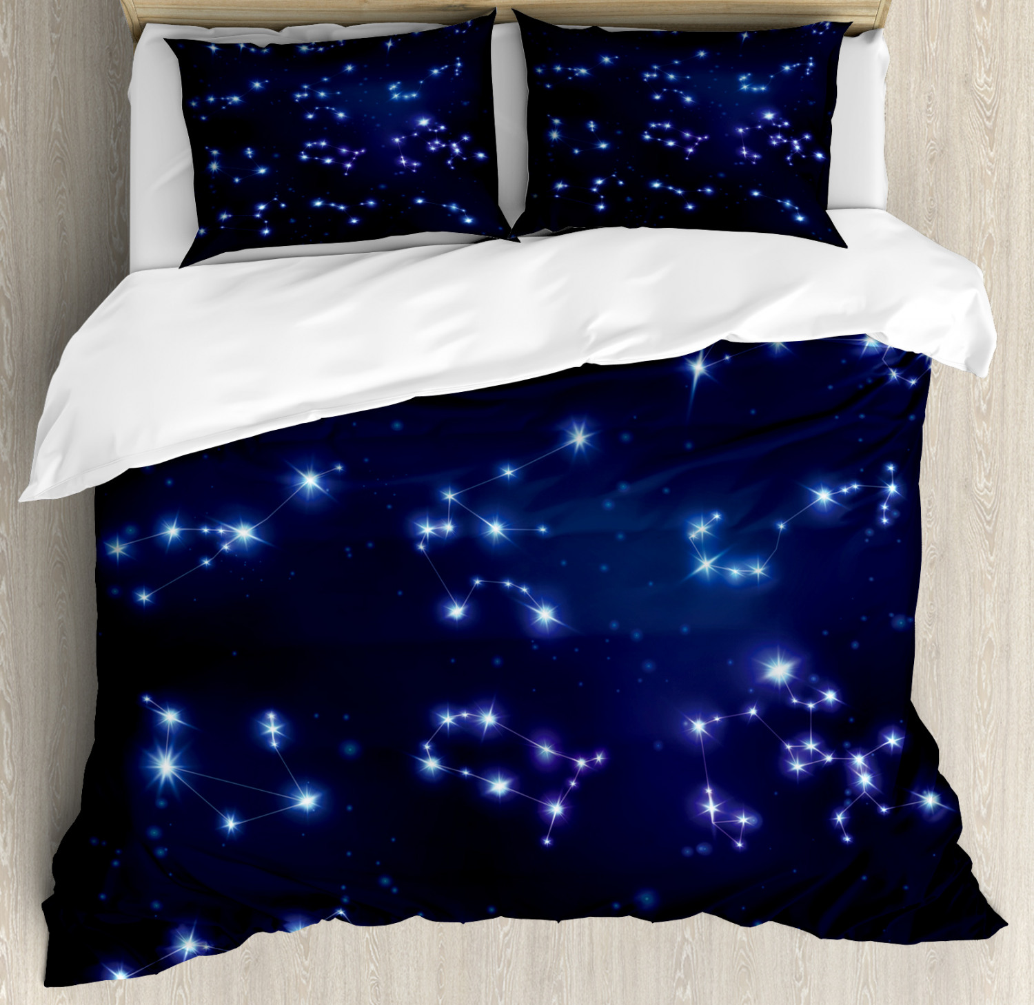 Constellation Duvet Cover Set with Pillow Shams Galaxy and Signs Print
