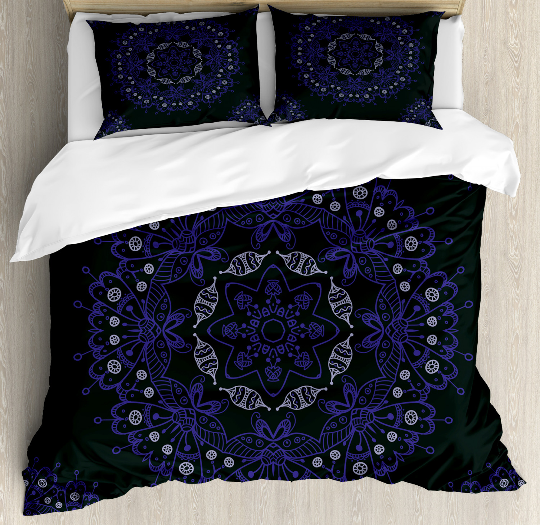 Dark blueeee Duvet Cover Set with Pillow Shams Authentic Mandala Print
