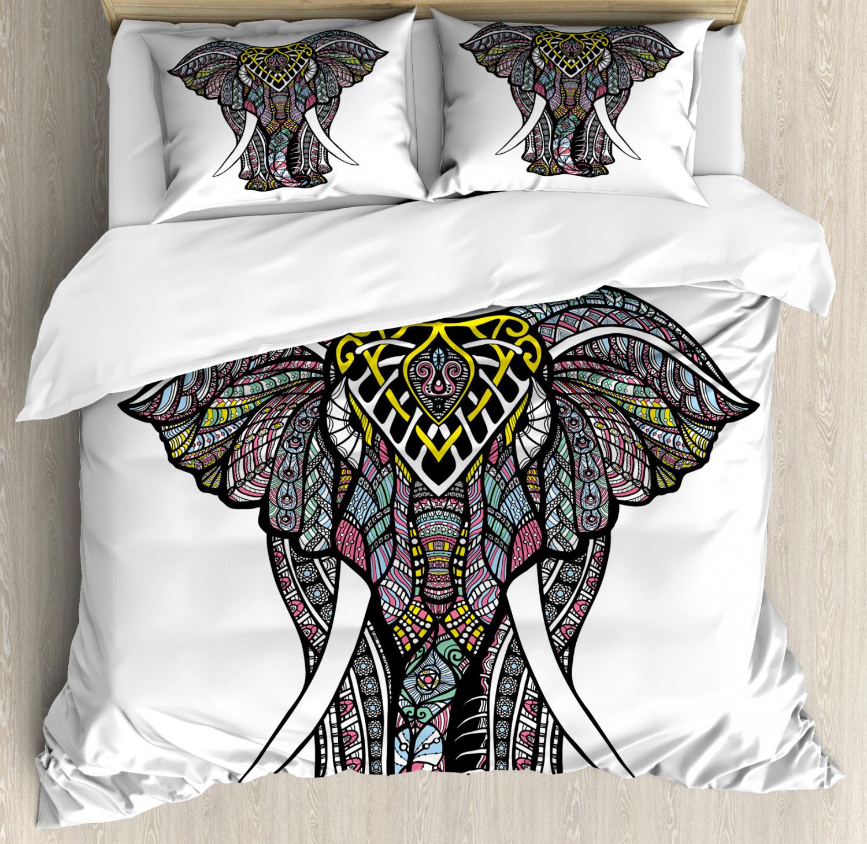 Elephant Mandala Duvet Cover Set with Pillow Shams Bohem Design Print