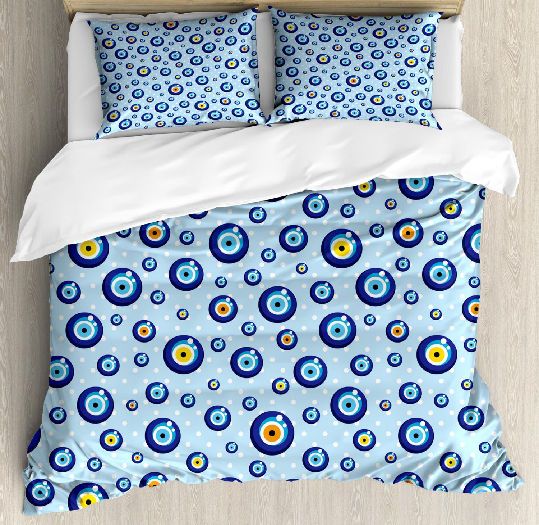 Evil Eye Duvet Cover Set with Pillow Shams Predection Signs Kids Print