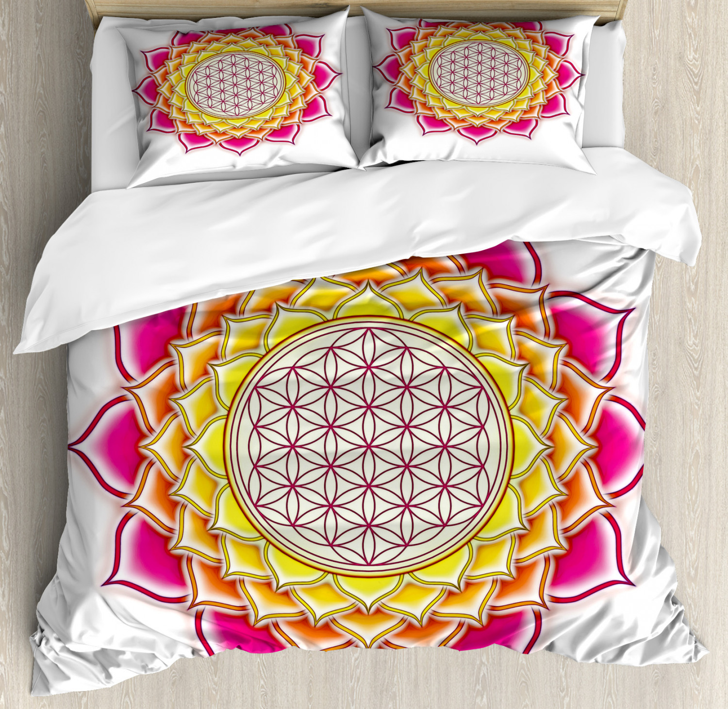 Leaf Duvet Cover Set with Pillow Shams Flower of Life Lotus Vivid Print