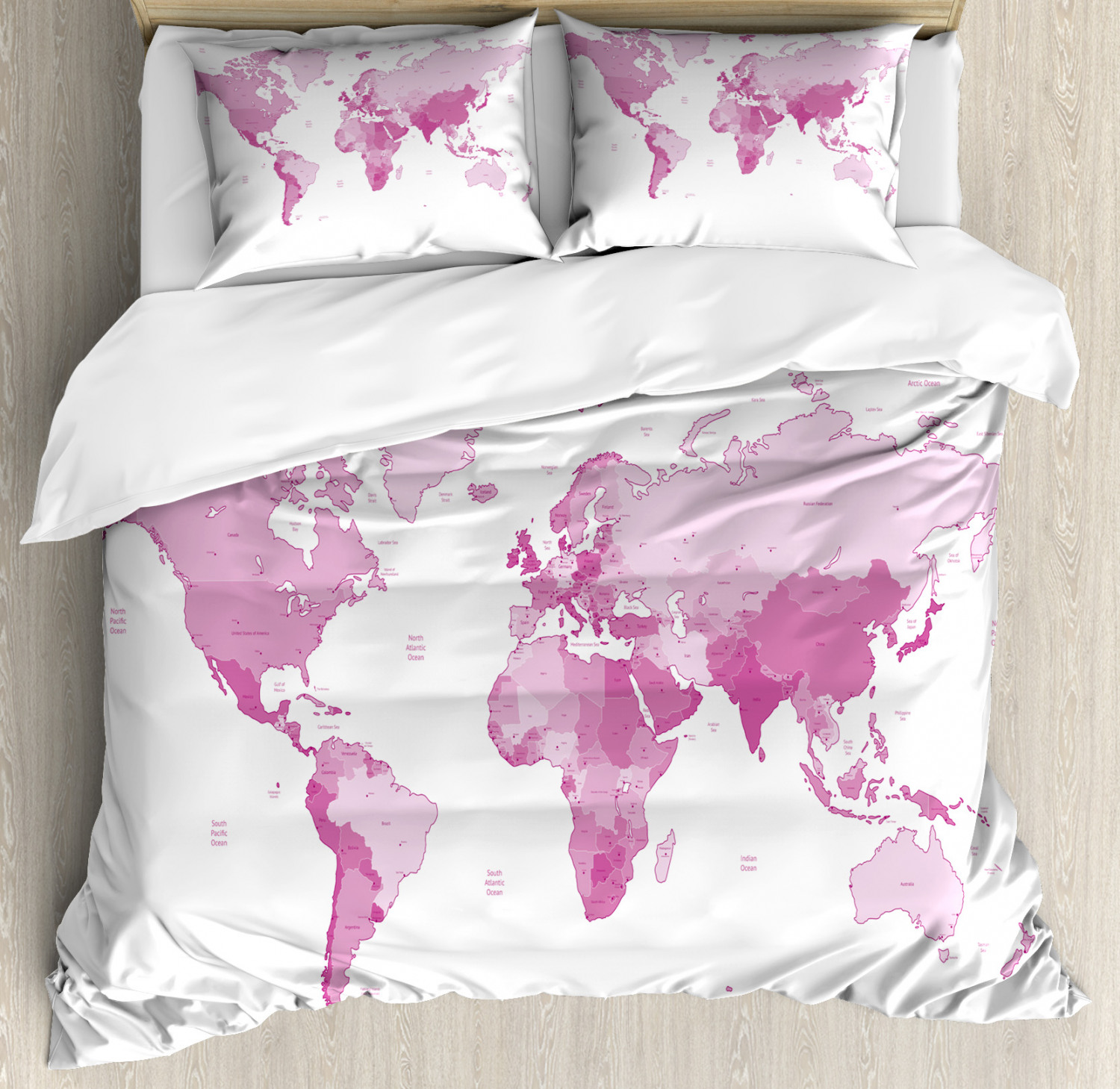 Pale Pink Duvet Cover Set with Pillow Shams World Map Continents Print